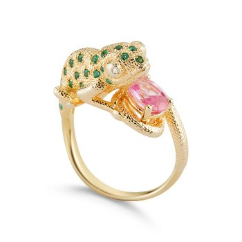 "Chameleon ring featuring an array of color in Pink Tourmaline ,Tsavorite and 2 diamonds set in 14K 1"" dragon"