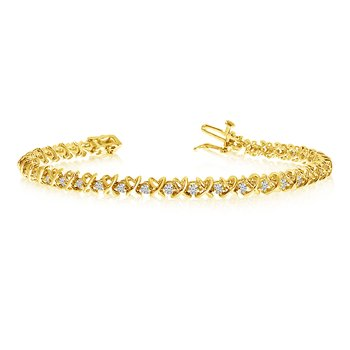 14k Yellow Gold XO Diamond Tennis Bracelet