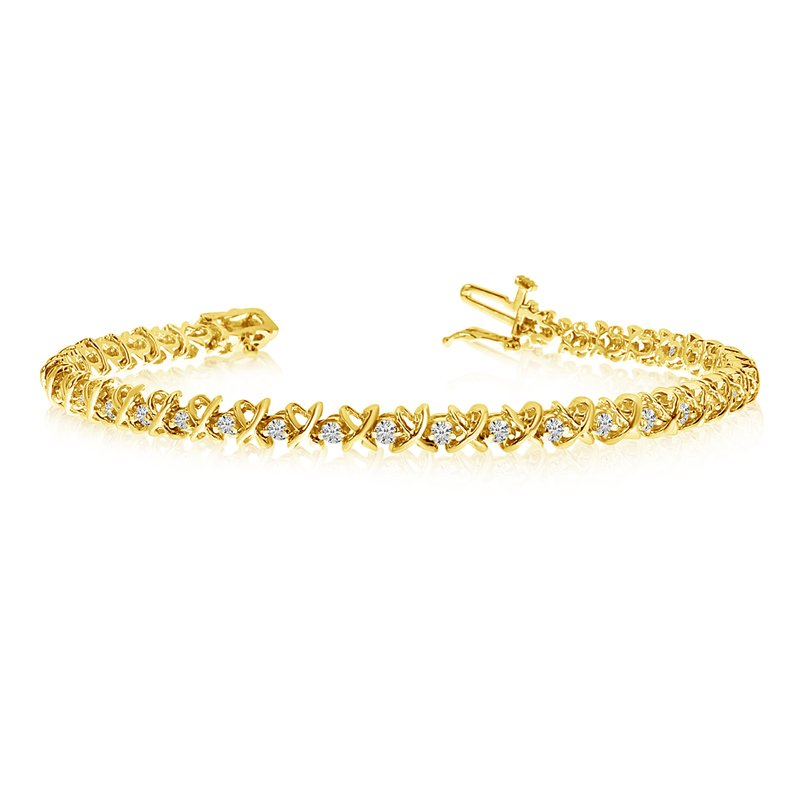 Color Merchants 14k Yellow Gold XO Diamond Tennis Bracelet