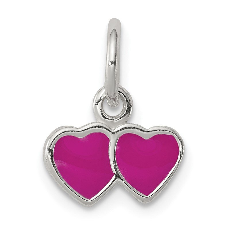 Quality Gold Sterling Silver Pink Enameled Double Heart Charm