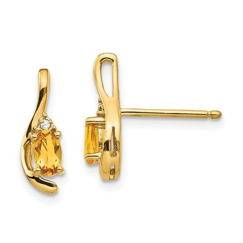 14k Citrine and Diamond Post Earrings