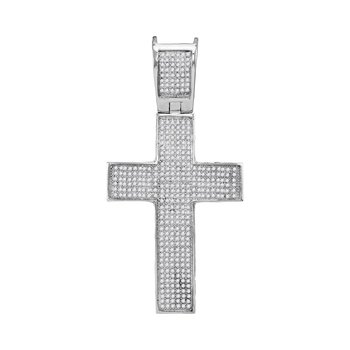 10kt White Gold Mens Round Diamond Symmetrical Christian Cross Charm Pendant 1.00 Cttw