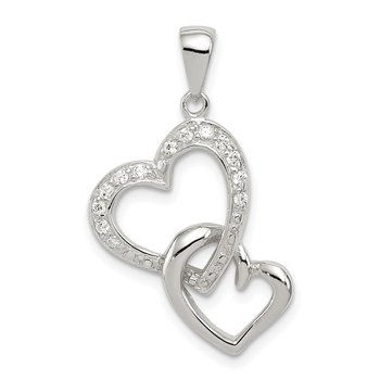 Sterling Silver Rhodium-plated 2 Heart CZ Pendant