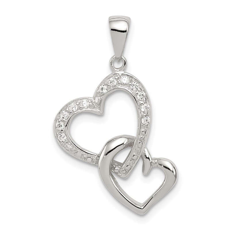 Quality Gold Sterling Silver Rhodium-plated 2 Heart CZ Pendant