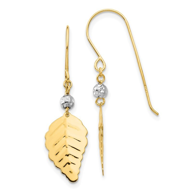 Quality Gold 14K Two Tone Stamped Leaf Shepherd Hook Earrings