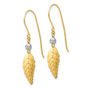 14K Two Tone Stamped Leaf Shepherd Hook Earrings