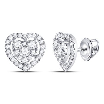 10kt White Gold Womens Round Diamond Heart Cluster Earrings 3/4 Cttw