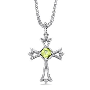 Sterling silver and peridot cross pendant