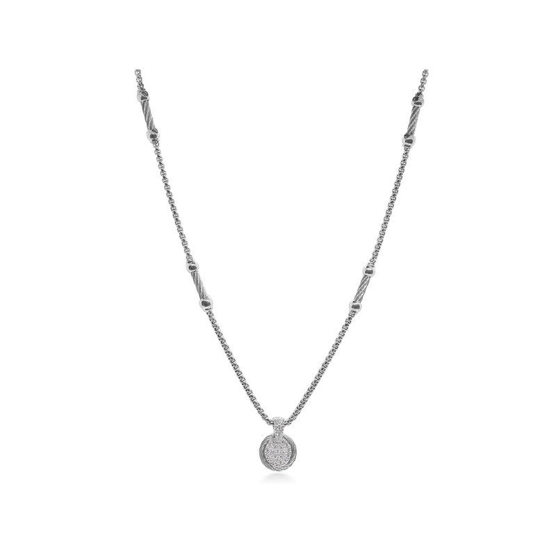 ALOR Grey Chain Expressions Scattered Necklace with 14kt White Gold & Diamonds