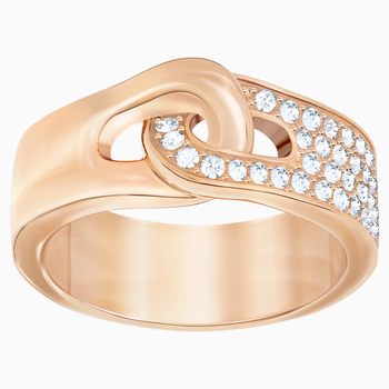 Gallon Ring, White, Rose-gold tone plated