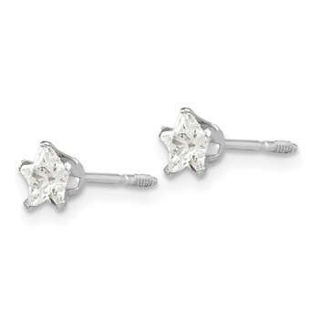 14k White Gold Madi K 4mm Star Earrings