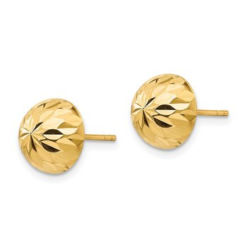 14k Madi K Polished & Diamond-Cut 9mm Button Post Earrings