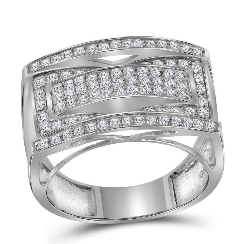Kingdom Treasures 10kt White Gold Mens Round Pave-set Diamond Rectangle Cluster Fashion Ring 1.00 Cttw