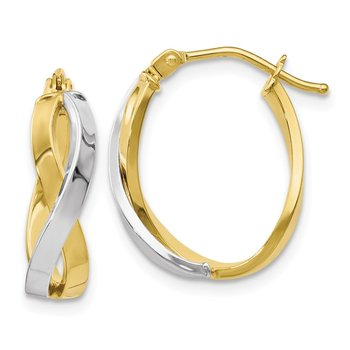 Leslie's 10K Two-tone Polished Twisted Hoop Earrings