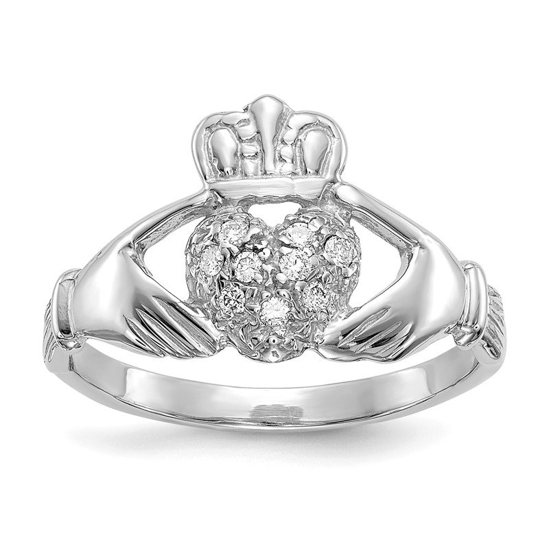 Quality Gold 14k White Gold 1/10ct AA Diamond Claddagh Ring