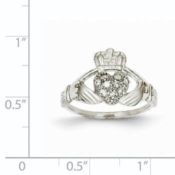 14k White Gold 1/10ct AA Diamond Claddagh Ring