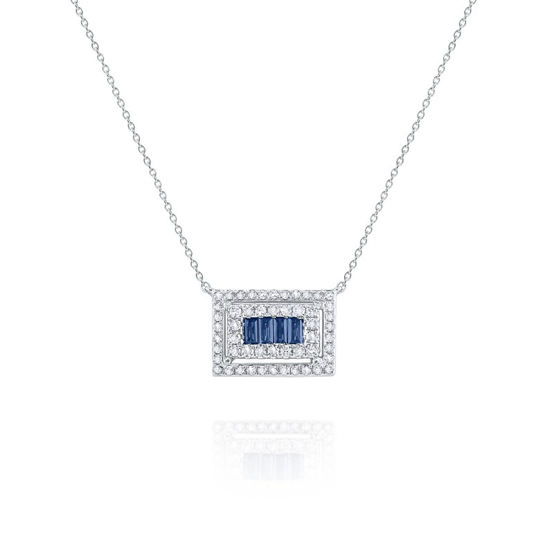 KC Designs Blue Sapphire & Diamond Mosaic Pendant Necklace Set in 14 Kt. Gold