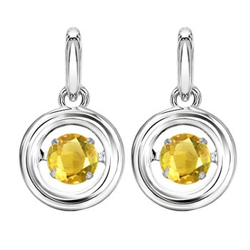 Silver Citrine Rhythm Of Love Earrings