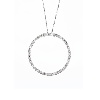 18Kt Gold Medium  Circle Diamond Pendant