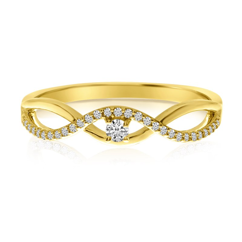 Color Merchants 14k Yellow Gold Stackable Wave Diamond Ring