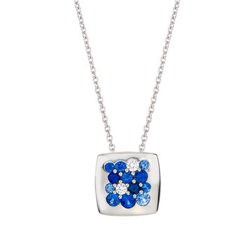 White Gold Sapphire & Diamond 11mm Square Tango Pendant