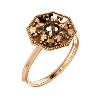 18K Rose 5.2 mm Round Halo-Style Engagement Ring Mounting