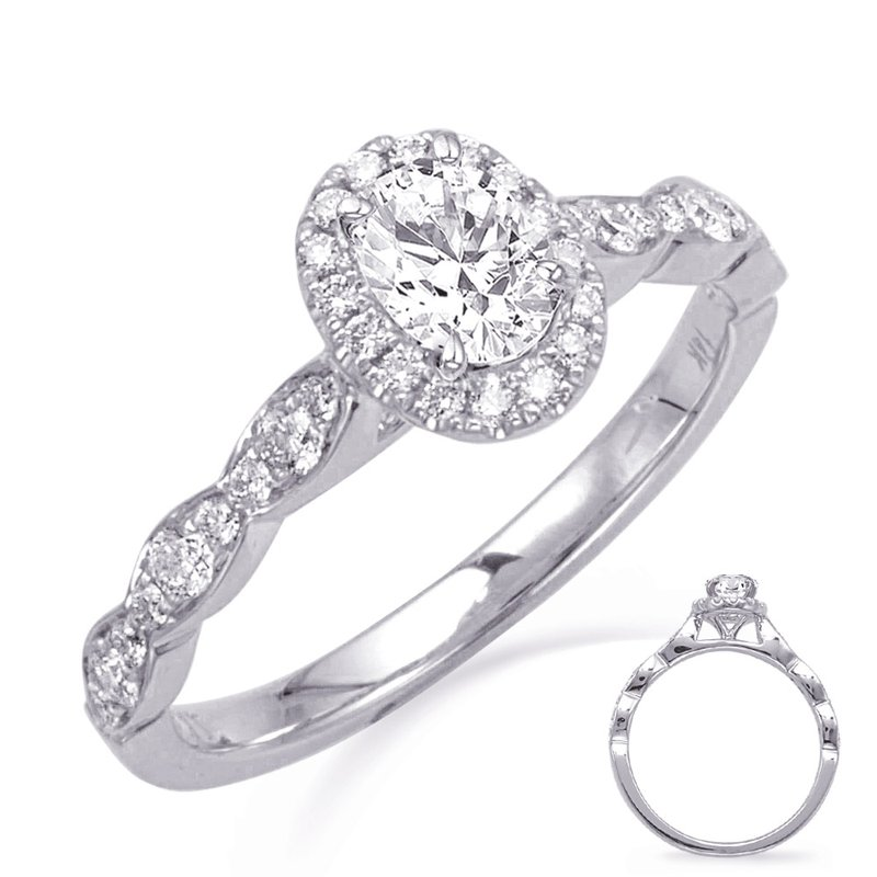 S. Kashi & Sons Bridal White Gold Oval Halo Engagement Ring