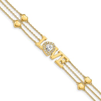 Sterling Silver Gold-Tone Crystal LOVE Bracelet