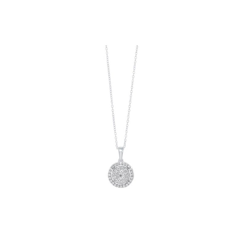 Calvin Broyles Diamond Halo Cluster Eternity Pendant Necklace in 14k White Gold (1/2ctw)
