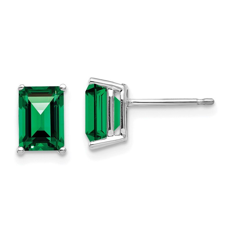 Arizona Diamond Center Collection 14k White Gold 7x5mm Emerald Cut Mount St. Helens Earrings