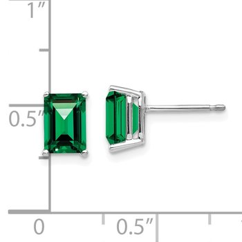 14k White Gold 7x5mm Emerald Cut Mount St. Helens Earrings