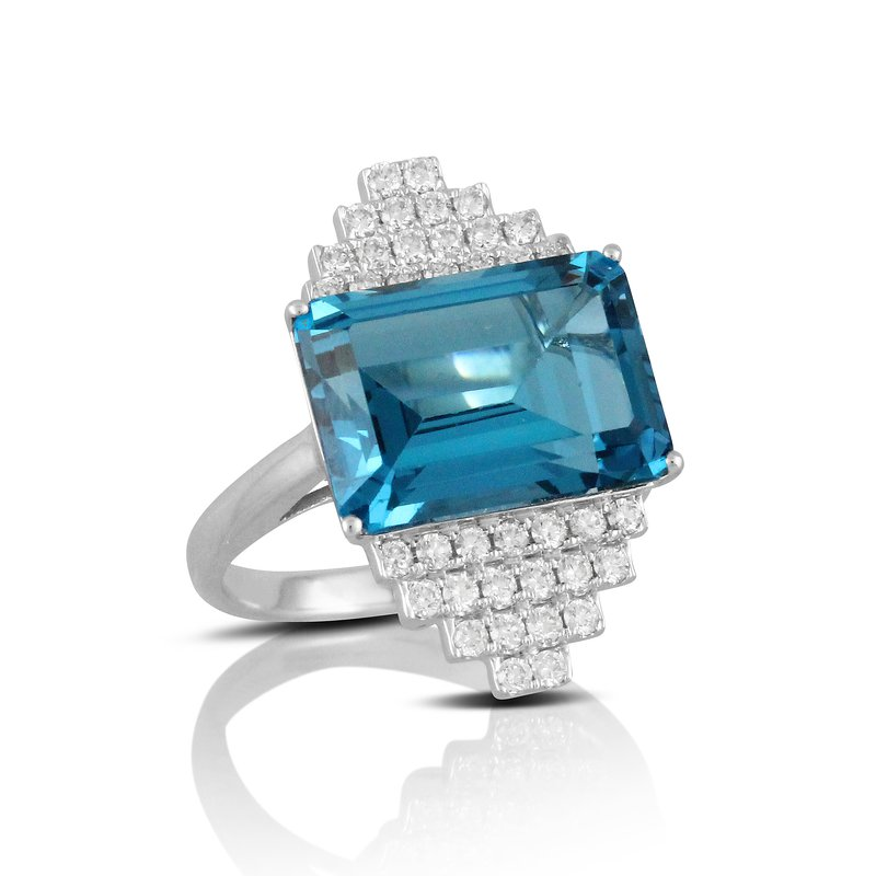 Doves London Blue Topaz & Diamond Ring 18KW