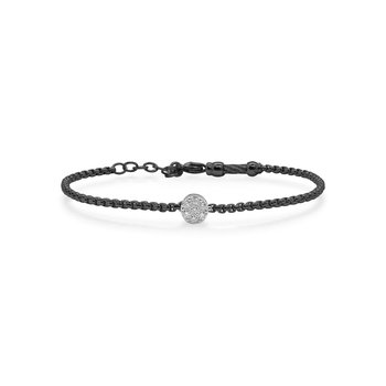 Black Chain Expressions Bracelet with Round Diamond Station set in 14kt White Gold