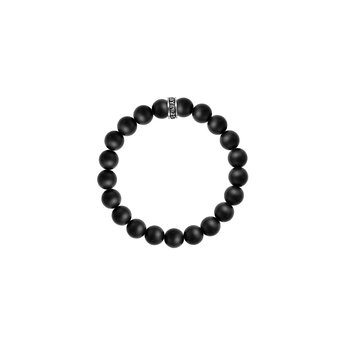 10Mm Black Onyx Beaded Bracelet W/ Logo Ring