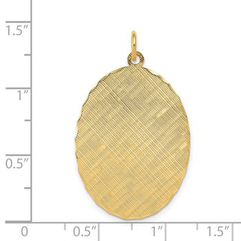 14k Patterned .018 Gauge Engravable Oval Disc Charm