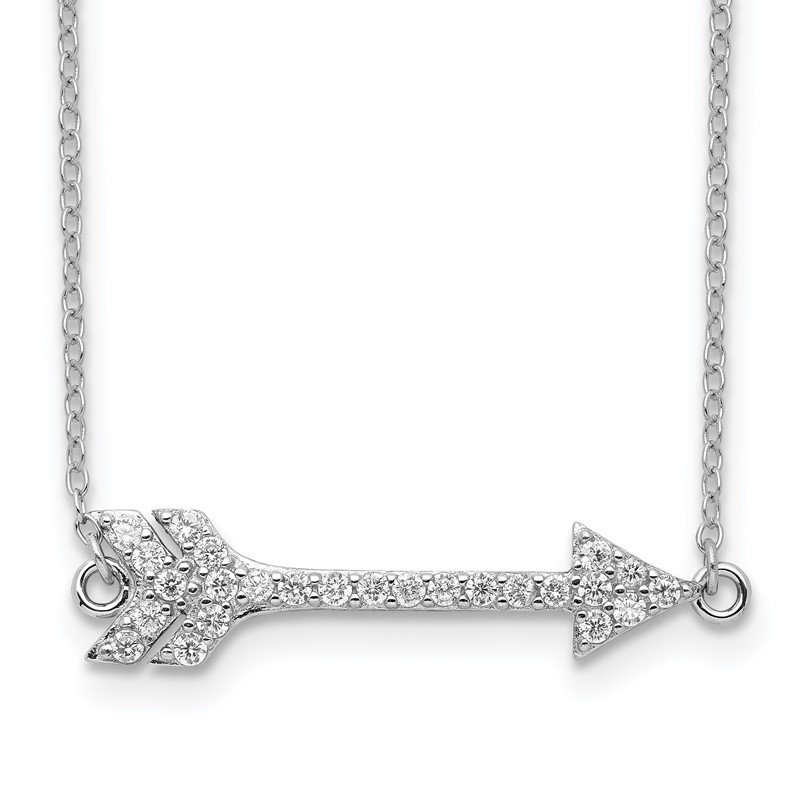 Quality Gold Sterling Silver Rhodium-plated CZ Arrow w/2in ext. Necklace