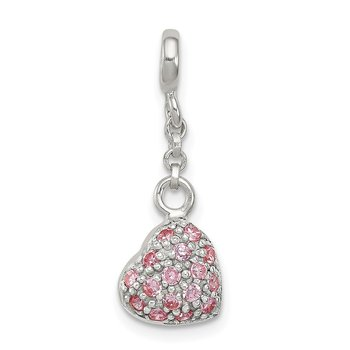 Sterling Silver Pink CZ Puffed Heart 1/2in Dangle Enhancer