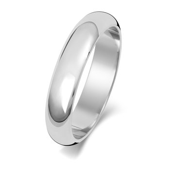 18Ct White Gold 4mm D Shape Wedding Ring