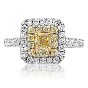 Cushion Cut Yellow & White Diamond Ring