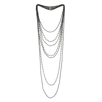 Thin DNA Shine Long Bib with Hematite Beads