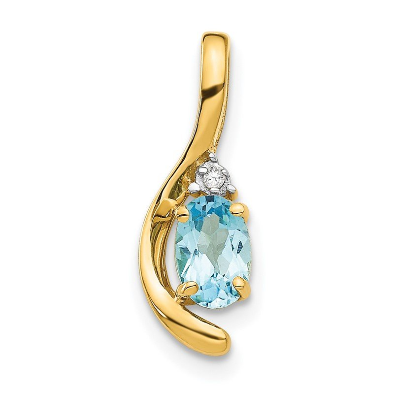 Quality Gold 14k Blue Topaz and Diamond Pendant