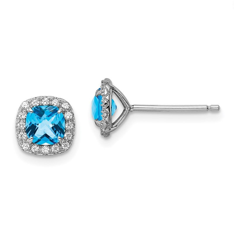 Arizona Diamond Center Collection Sterling Silver Rhod-plate 1.24Bl. Topaz/Creat. Wht Sapphire Earrings