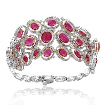 Layered Ruby & Diamond Bracelet