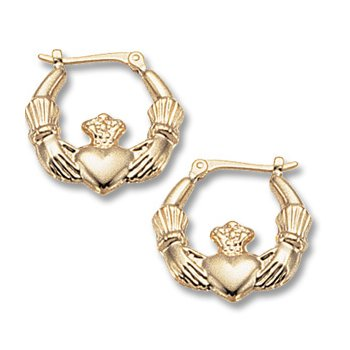 14kt Yel Claddagh Hoop Earrings