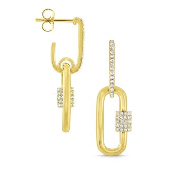 14k Gold and Diamond Charm Holder Earrings