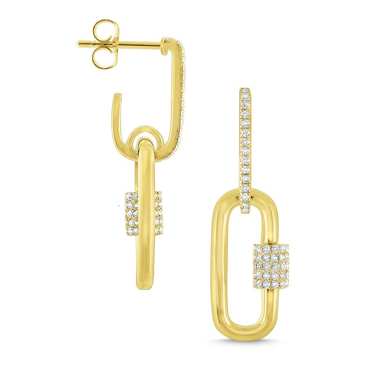 MAZZARESE Fashion 14k Gold and Diamond Charm Holder Earrings