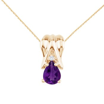 14k Yellow Gold Amethyst and Diamond Pear Shaped Pendant