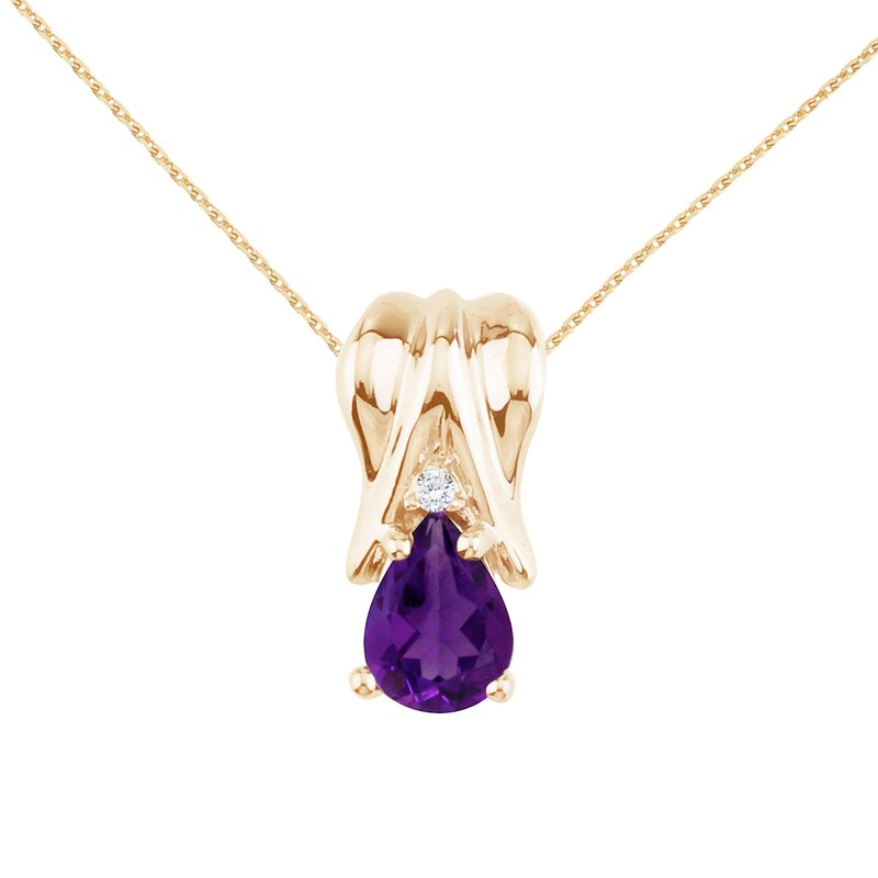 Color Merchants 14k Yellow Gold Amethyst and Diamond Pear Shaped Pendant