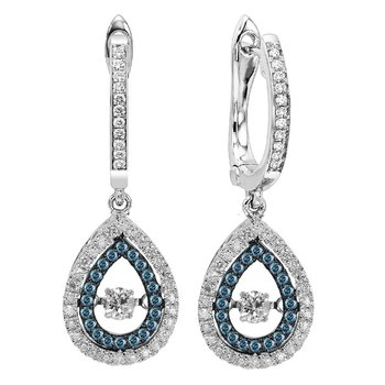 14K Blue & White Diamond Rhythm Of Love Earring 1/2 ctw