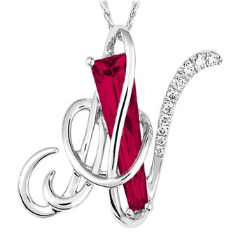 Initial Pendant - Chatham Created Padparadscha
